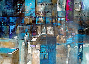"Crowded Street 38"" x 54"" Blue Giclee on Canvas, , large"