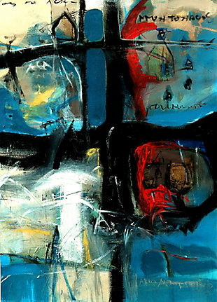 """Emotional Abstract 38"""" x 54"""" Blue Giclee on Canvas, , large"""