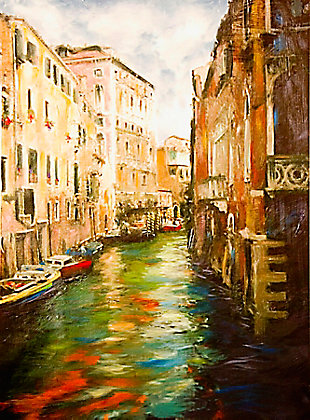 """Venice River 38"""" x 54"""" Giclee on Canvas, , large"""