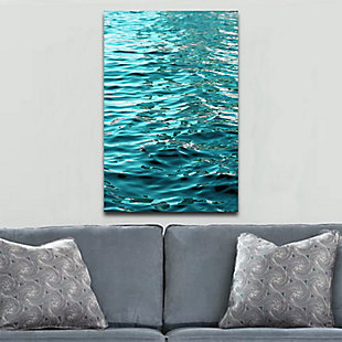 """Teal Ripples 32"""" x 48"""" Reverse Printed Acrylic, , rollover"""