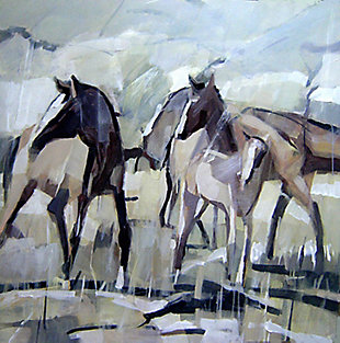 """Herd of Horses 30"""" x 30"""" Giclee on Canvas, , large"""