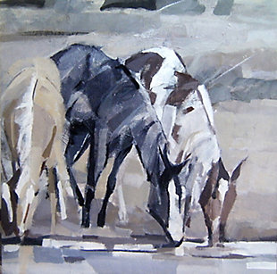 """Hydrating Horses 30"""" x 30"""" Giclee on Canvas, , large"""