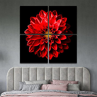 """Blooming 48"""" x 48"""" Red and Black Reverse Printed Acrylic (4 Piece Set), , rollover"""