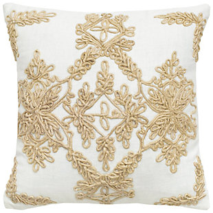 Home Accents Embroidered Floral Decorative Throw Pillow, , large