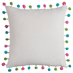 Home Accents Colorful Pom-Pom Decorative Throw Pillow, , large