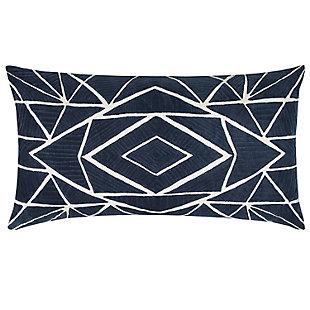 Home Accents Geometric Embroidered Decorative Throw Pillow, , large