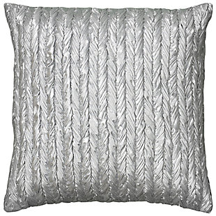 Home Accents Silver Embroidered Decorative Throw Pillow, , large