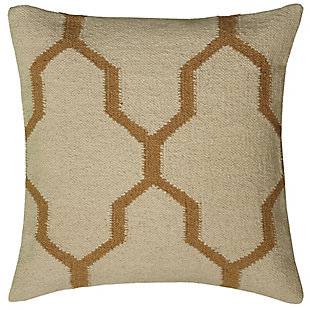 Home Accents Quatrefoil Wool Decorative Throw Pillow, Beige, large