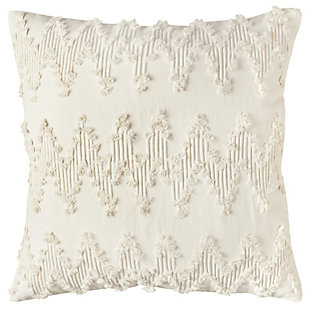 Home Accents Frayed Chevron Decorative Throw Pillow, Natural, large