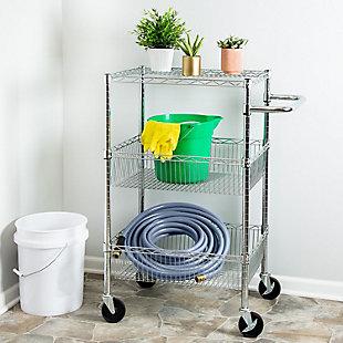 Honey-Can-Do Three Shelf Chrome Storage Cart, , rollover