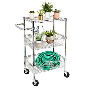 Honey-Can-Do Three Shelf Chrome Storage Cart, , large