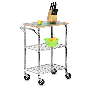 Honey-Can-Do Two Shelf Chopping Block Cart, , large