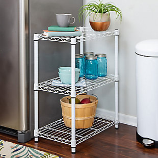 Honey-Can-Do Three Tier Adjustable Shelving Unit, White, rollover
