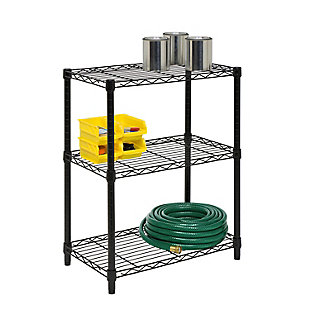 Honey-Can-Do Three Tier Heavy Duty Adjustable Shelving Unit, Black, large