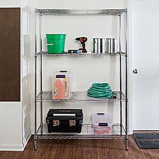 Honey-Can-Do Four Tier Adjustable Shelving Unit, Chrome, rollover