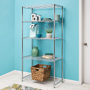 Honey-Can-Do Five Tier Adjustable Shelving Unit, Black, rollover