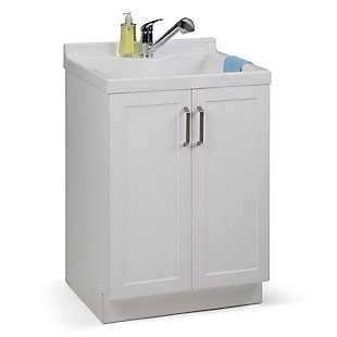 Simpli Home Kyle Transitional 24 inch Laundry Cabinet with Pull-out Faucet and ABS Sink, , rollover