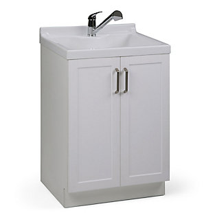 Simpli Home Kyle Transitional 24 inch Laundry Cabinet with Pull-out Faucet and ABS Sink, , large