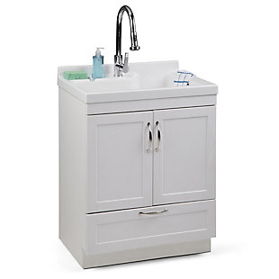 Simpli Home Maile Transitional 28 inch Laundry Cabinet with Pull-out Faucet and ABS Sink, , rollover