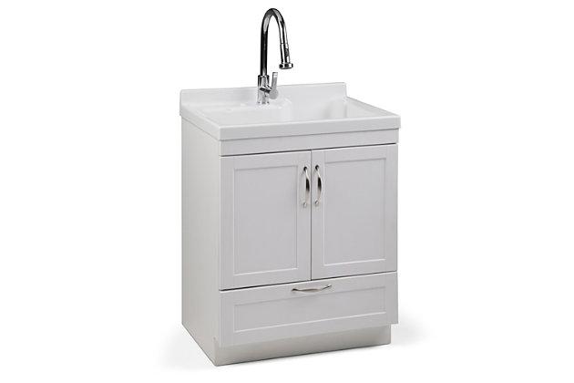 Simpli Home Maile Transitional 28 inch Laundry Cabinet with Pull-out Faucet and ABS Sink, , large