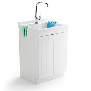 Simpli Home Murphy Traditional 24 inch Laundry Cabinet with Faucet and ABS Sink, , rollover