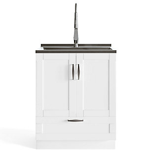 Simpli Home Reed Transitional 28 inch Deluxe Laundry Cabinet with Pull-out Faucet and Stainless Steel Sink, , large