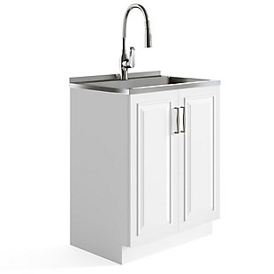 Simpli Home Darwin Transitional 28 inch Deluxe Laundry Cabinet with Pull-out Faucet and Stainless Steel Sink, , large