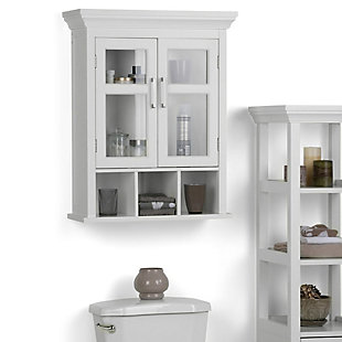 Simpli Home Avington Two Door Wall Bath Cabinet with Cubbies, , rollover