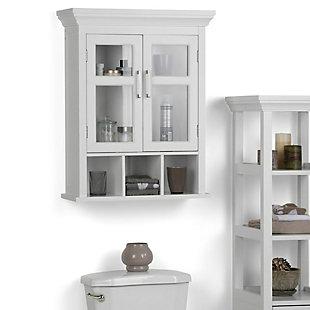 Simpli Home Avington Two Door Wall Bath Cabinet with Cubbies, , rollover