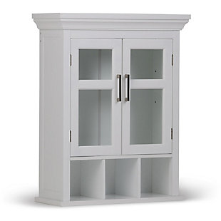 Simpli Home Avington Two Door Wall Bath Cabinet with Cubbies, , large