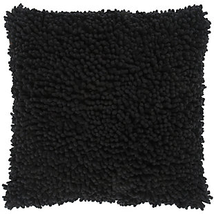 Home Accents Shag Throw Pillow, Black, large
