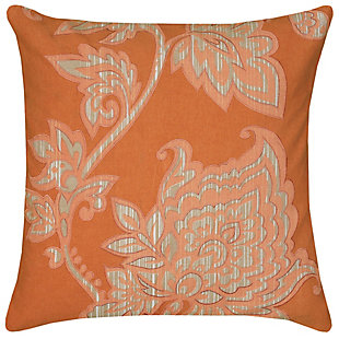 Home Accents Orange Floral Throw Pillow, , large
