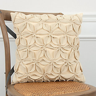 Home Accents Decorative Floral Throw Pillow, Cream, rollover