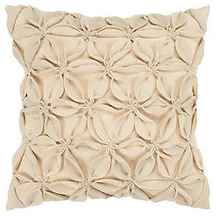 Home Accents Decorative Floral Throw Pillow, Cream, large