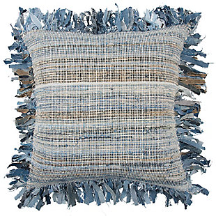 Home Accents Textrued Stripe Fringe Throw Pillow, , large