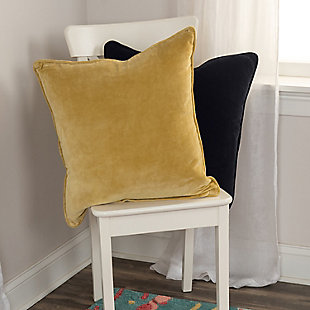 Connie Post Velvet Throw Pillow, Yellow, rollover