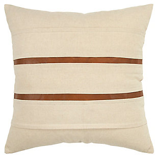 Donny Osmond Leather Inset Stripe Throw Pillow, , large