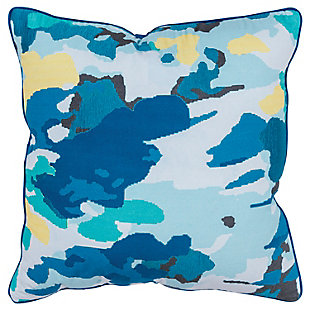 Connie Post Blue Camouflage Throw Pillow, , large
