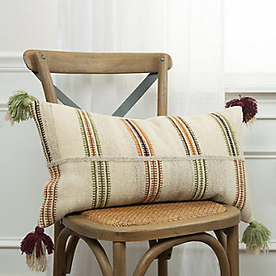 Home Accents Hand Woven Off Set Stripe Wool Throw Pillow, , rollover