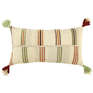 Home Accents Hand Woven Off Set Stripe Wool Throw Pillow, , large