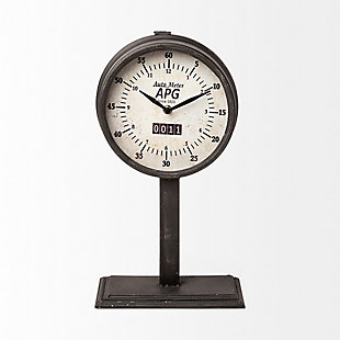 Black Round Face Table Clock, , rollover