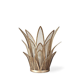 Small Mesh Metal Leaves Table Candle Holder, , large
