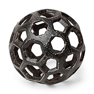 Hollow Metal Decorative Orb with Antique Finish, , large