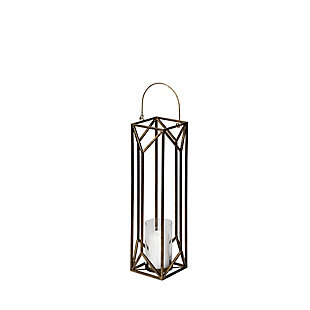 Gold Geometric Cage Candle Holder Lantern, , large