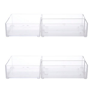 Kenney Storage Made Simple Bathroom Countertop Organizer Tray Set, Set of 6, Clear, , rollover
