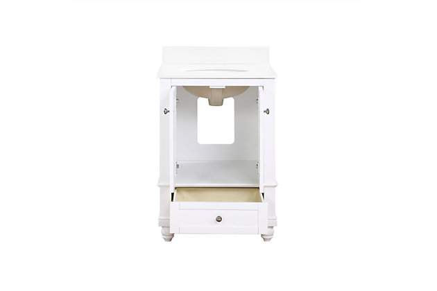 Atwater Living Jazmyne 24 Inch Bathroom Vanity with Sink, White, White, large