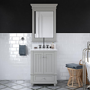 Atwater Living Jazmyne 24 Inch Bathroom Vanity with Sink, Gray, Gray, rollover