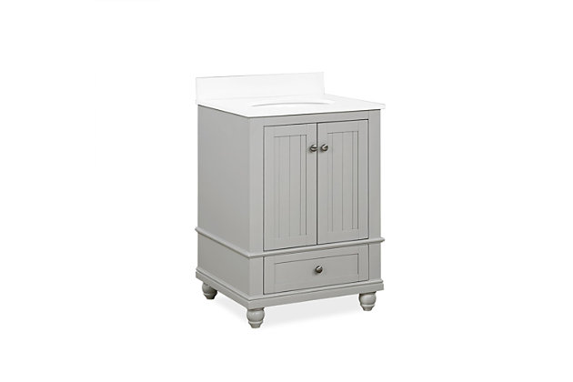 Atwater Living Jazmyne 24 Inch Bathroom Vanity with Sink, Gray, Gray, large