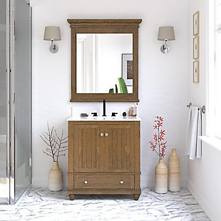 Atwater Living Jazmyne 30 Inch Bathroom Vanity with Sink, Natural, Natural Rustic, rollover