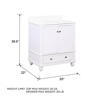 Atwater Living Jazmyne 30 Inch Bathroom Vanity with Sink, White, White, large